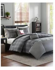 Full Queen Size Comforter 5 Piece Set Bedding Grey Black Plaid Reversible NEW