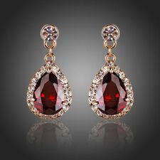 18K Gold Plated Red Cubic Zircon Diamante Tear drop Earrings (E338-23)