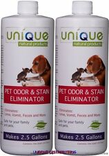 Unique Pet Odor Urine Stain Remover Cleaner Cat Dog 2-32 oz Concentrate Bottles