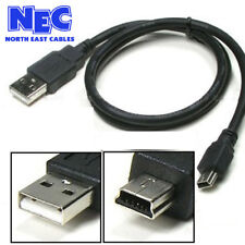 0.5m,1m,1.8m,2m,3m,5m MINI USB Sync & Lead Type A to 5 Pin B Phone Charger UK
