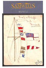 MS4151 c1916 GB WW1 Naval HAND-ILLUSTRATED Postcard ROYAL ENSIGN FLAGS Unused