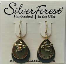 Gold Tone Dove Hook Earrings Silver Forest Beautiful Four Layer