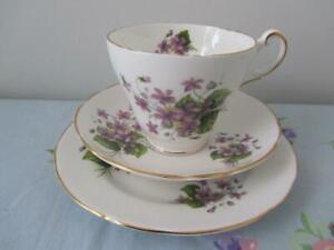 Vintage Regency TRIO Tea Cup Saucer Plate Set Violets England