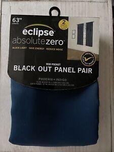 Eclipse Absolute Zero Anya Gray Blackout Rod Pocket Curtain Panel Pair