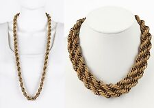 "VTG 1950s MIRIAM HASKELL GOLD GILT CHUNKY CARVED ROPE CHAIN NECKLACE 36"" LONG"