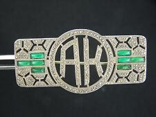 """STUNNING ART DECO MARCASITE & EMERALD FRENCH STERLING PIN BROOCH ~ 1 7/8"""" * 9.6g"""