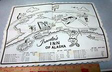 vintage 1960s Travelers Inn of Alaska placemat, great old Alaska Drawings, fun!