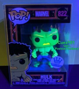 FUNKO POP Hulk Black Light Funko Shop Exclusive #822 +Protector *Ready To Ship*