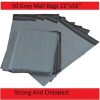 "50 x  Cheapest Strong 12"" X 16""  Large Grey Plastic Postal Parcel Mailing Bags"