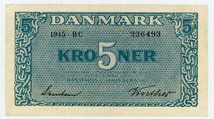 "Denmark … P-35b … 5 Kroner … 1945 … Choice *XF*  Serie ""BC"""