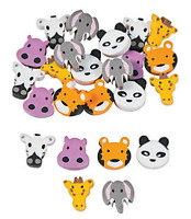 Pack of 24 - Mini Zoo Animals Erasers - Rubbers Teacher Rewards