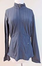 LULULEMON Gray Pinstripe Zip Front Jacket Cardigan Sweater  Sz 10 EUC
