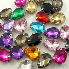 50pcs Mixed Drops Plated Cup Loose Rhinestone Beads Sewing Craft Embellishment