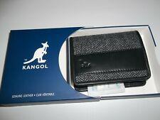 KANGOL Black Leather Grey Herringbone HARRY BIFOLD WALLET Rt $65 NEW in BOX