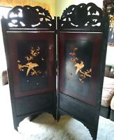 Antique Japanese Lacquered Carved Inlaid Shibayama Meiji Period Screen Divider