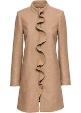 Wollmantel mit eleganter Volantkante Gr. 38 Camel Damenmantel Woll-Mantel Neu