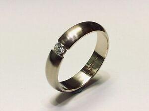 18ct White Gold Diamond Tension Set Band Ring Satin Finish 0.10cts size M1/2
