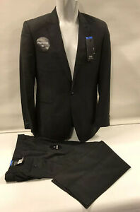 """Mens Immaculate F+F Black One Button Suit Jacket 46R Trouser 40""""/31L"""