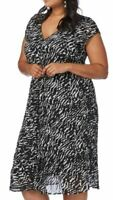 BEME Crinkle Dress Plus Size 18 Black V Neck Crushed Party Occasion