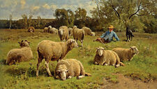 Oil painting Cornelis van Leemputten shepherd & his dog guarding flock of sheep