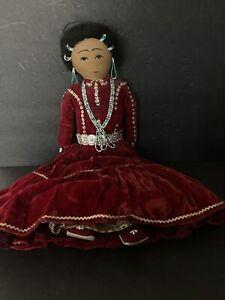"""Vintage 17"""" Handmade Navajo Doll In Red Velvet Dress"""