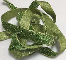 French VELVET Ribbon Lurex Metallic GREEN by the yard 13mm 1/2 inch