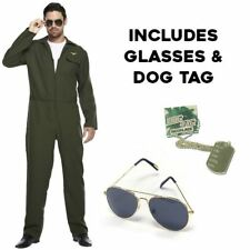 Homme Aviateur Costume pilote de chasse fusil costume femme uniforme 80 s Fancy Dress Outfit