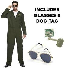 Da Uomo Costume da Aviatore Pilota Caccia Pistola Tuta Top uniforme 80 S Costume Vestito