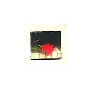 RED ROSE ON PIANO KEYS ALTERED ART SCRABBLE TILE SILVER PLATED FILIGREE RING