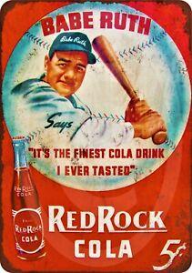 Babe Ruth Red Rock Cola Tin Sign (Yankees Boston Red Sox Gehrig Cobb Honus MLB)