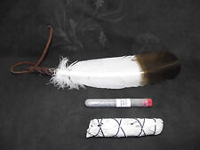 SAGE SMUDGE REPEL EVIL ENERGY BLACK SALT KIT LARGE FEATHER CALIFORNIA WHITE SAGE