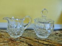 FIFTH AVENUE CRYSTAL Sugar bowl Creamer Clear cut lid Poland