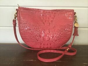 Brahmin Mini Kathleen Hobo Shoulder Crossbody Handbag in Tulip Pink Leather