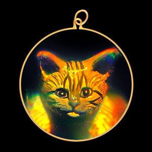 9ct Gold Hologram Pendant - Cat Kitten Head (Large) - No Chain