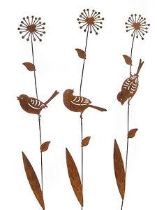 3er Set Gartenstecker Blume mit Vogel 46cm Rost Blumenstecker Gartendeko