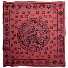 Buddha Red Wall Hanging Scarf 100% Cotton Meditation Sanskrit Dharma
