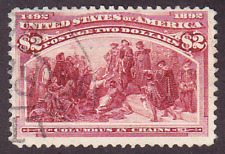 US Scott 242 old $2 Columbian Expo issue U/VF CV $650