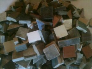 """ASSORTED COLORS MOSAIC TILES UP 1"""" AND UP TO 25 POUNDS HUNDREDS OF PIECES"""