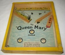 Unusual Antique Dexterity Puzzle QUEEN MARY Yellow R Journet London 1940s