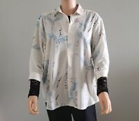 GRIFFLIN Paris Blouse Tunic sz L Crane Bird Print New