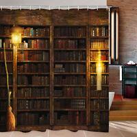 Retro Bookshelf Pattern Waterproof Shower Curtain Bathroom Curtains Decor Hooks