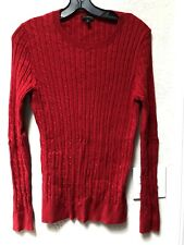 Talbots Red Crew Neck Long Sleeve Cable Knit Sweater Cotton Wool Blend Sz M EUC