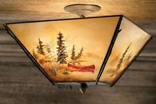 Adirondack Or Western  Rustic Ceiling Lighting  Painted ,Glass ,Copper & Hickory