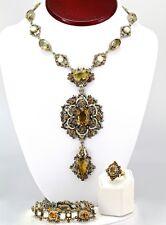 Antique Austro-Hungarian Set Necklace, Bracelet & Ring, Silver, Citrine, Pearls