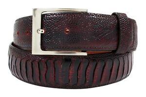 Genuine Handmade Black Cherry Ostrich Leg Leather Belt (Made in U.S.A)