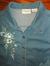 Denim Shirt Jaclyn Smith L Women 14-16 Top Embroidered Blouse 3/4 Sleeve 4m37