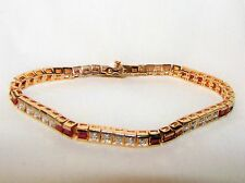 ESTATE Y Gold Plated 925 STERLING SILVER Natural RED RUBY Diamond BRACELET 7""