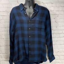 NWOT Joe Fresh Black And Blue Plaid Cotton Long Sleeve Button Down Shirt Men XXL