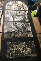 "Siegfried Reinhardt Stain Glass ""St. John the Baptist"" Ink and Watercolor Design"