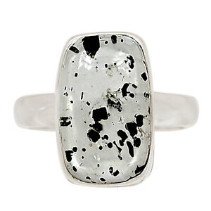 Hematite In Quartz 925 Sterling Silver Pendant Jewelry Ring s.6.5 ALLR-671